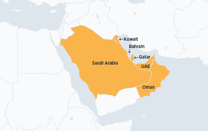 Map of GCC countries