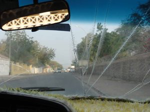 Cracked taxi windscreen